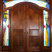 Black Walnut Entranceway with Stained Glass Surround