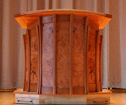 Houghton College - Pulpit with motorized height adjustment and movable platform (front view)