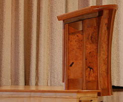 Houghton College - Pulpit with motorized height adjustment and movable platform (side view)