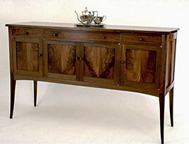 Black Walnut Sideboard with Bookmatched Crotch Wood Doors - Over view