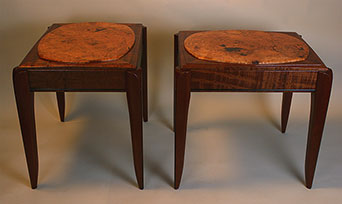 Cherry Burl and Mahogany End Tables with Ebony Inlay - Over view