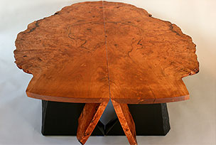 Cherry Burl Nesting Benches/Tables - nesting end view