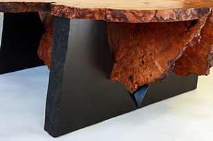 Cherry Burl Nesting Benches/Tables - live edge detail