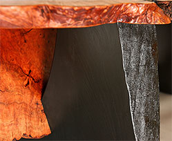 Cherry Burl Nesting Benches/Tables - pedestal to burl detail