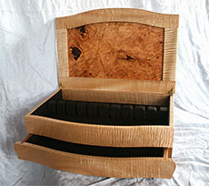 Curly Maple Silver Box - Open