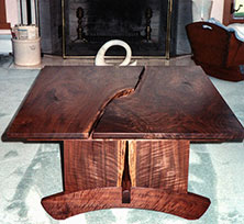 Howard Bookmatched Curly Walnut Table - Over view