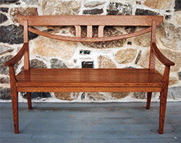 Howard Quartersawn White Oak Settee - Over view