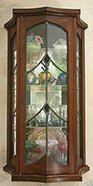 Walnut Display Case with Ebony and Leaded Glass Work - Over view