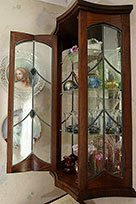 Walnut Display Case with Ebony and Leaded Glass Work - Detail Close-up